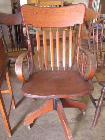 Antique The Ford & Johnson Co. Oak Rolling Chair with Bent Wood Arms