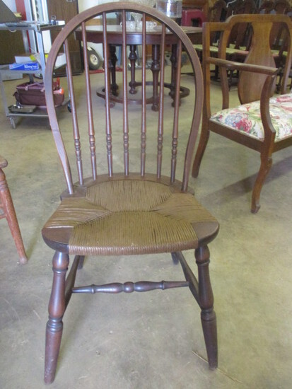 Antique Windsor Back Side Chair with Spindle Back and Rush Seat