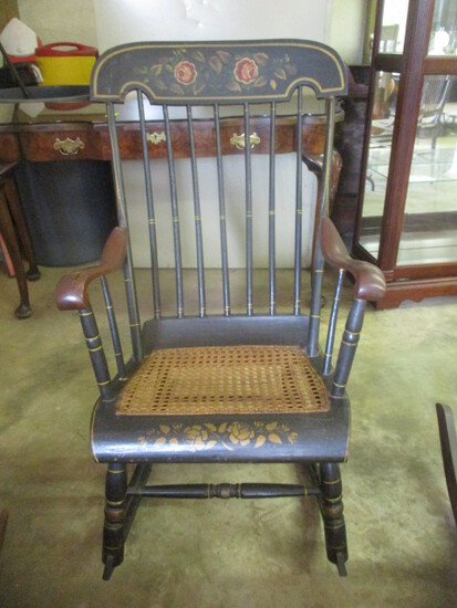 Antique Hitchcock Style Rocking Chair with Caned Seat