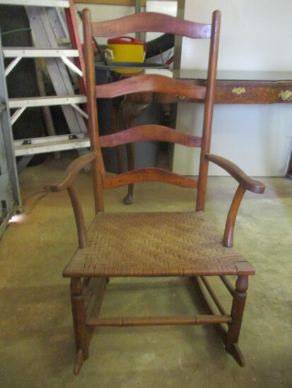 Antique Ladder Back Rocking Chair with Split Oak Woven Seat