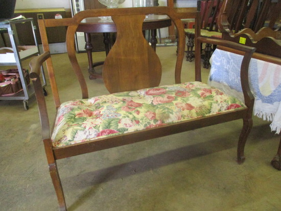 Wood Deacon's Bench with Upholstered Seat Cushion