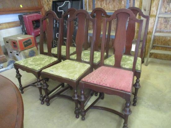 Six Antique Peru Chair Work Walnut Side Chairs