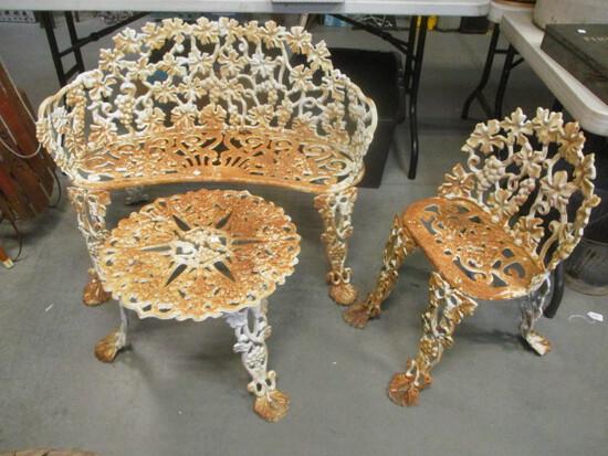 3-Piece Iron Garden Furniture Set:  Settee, Chair, & Table