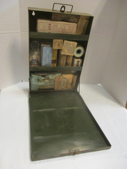 Vintage Military Style Wall-Mount First Aid Kit With Supplies