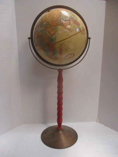 Replogle Globe On Painted Wood Stand With Brass Base