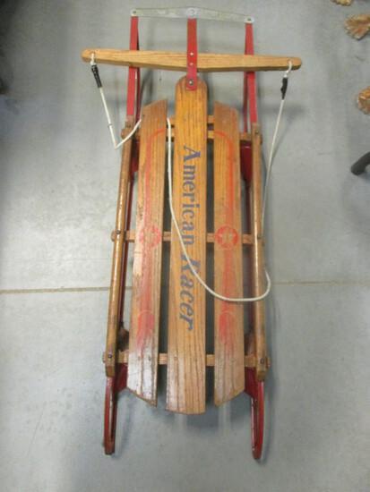 "45"" American Racer Wooden Sled"