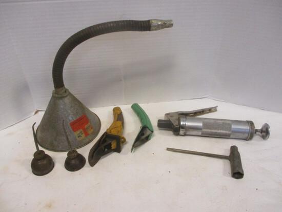 Automotive Maintenance Tools:  Funnel, Oil Spout, Oilers,