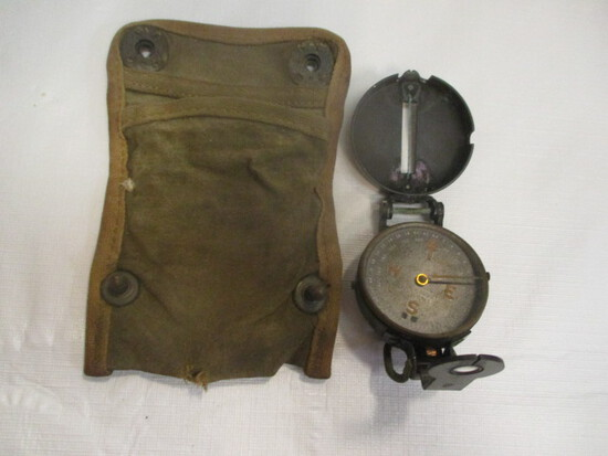 W. & L. E. Gurley Pocket Compass In Canvas Pouch