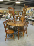 Tell City Round Table With 2 Leaves, 1 Arm Chair, 5 Armless Chairs