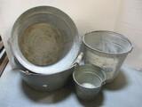 Enamelware Bucket And 3 Metal Pails