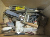 Tool Lot:  Saw blade, Snips, Hand Drill, Trowel, And More