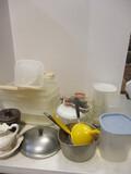 Partial Table Lot:   Plastic Storage, Vintage Glassware, Brown Crock,