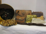 Vintage Purses And Hats:  Leather, Fur, Feather, Metal ore