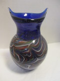 Blue Art Glass Vase With Multi-Colored Swirls & Controlled Bubbles