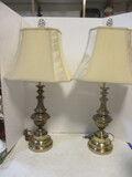 Pair Of Heavy Antique-Brass Lamps With Faux Silk Shades