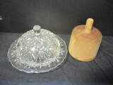 Glass Butter Dome And Wooden Clover Butter Mold