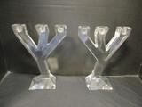Pair Of Orrefers Crystal Taper Holders