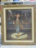 Signed Original Nicely Framed Clown On Canvas