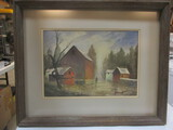 Framed And Matted Barn Scene By Ashcroft