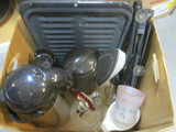 Miscellaneous Kitchen And Household Lot:  Iron, Roasting Pan,