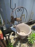 Scrolled Metal Chair Planter With Terra Cotta Pot & Hummingbird Windchime