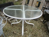 Metal Frame Patio Table With Glass-Top
