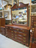 7-Drawer Cherry Finish Dresser And Mirror
