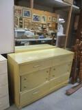 Retro 6-Drawer Dresser With Beveled Mirror