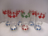 Set Of 6 Geometric Print Drinking Glasses:  5 Blue, 1 Green