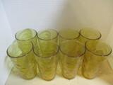 Set Of 8 Amber Glass Tumblers