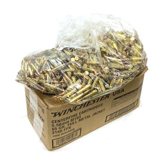 NIB 1000rds. of 5.56mm M193 Winchester 55gr. FMJ Brass Ammunition