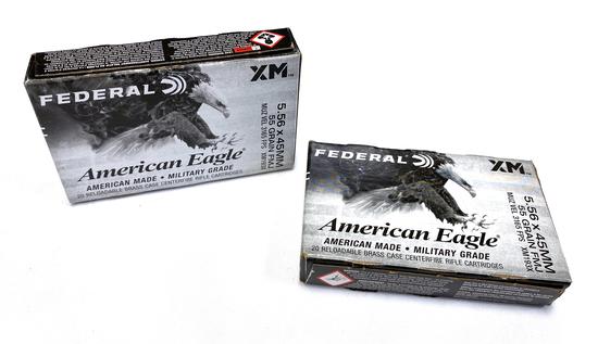 NIB 40rds. of 5.56x45MM - Federal American Eagle XM 55gr. FMJ Brass Ammunition