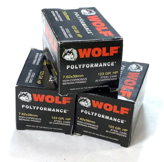 NIB 60rds. of 7.62x39mm WOLF 123gr. HP Steel Case Ammunition