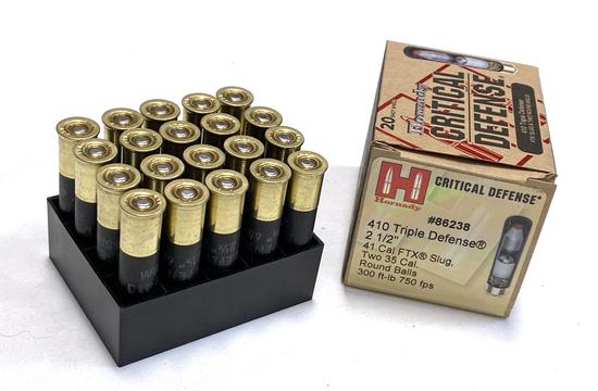 """NIB 25 Shotshells of .410 GA. 2-1/2"""" Hornady Critical Defense 410 Triple Defense Ammunition"""