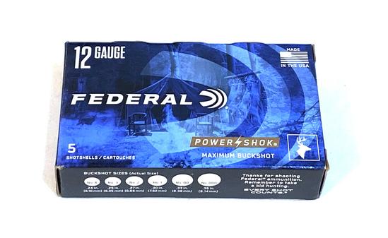 "NIB 5 Shotshells of 12 GA. 2-3/4"" Federal Power-Shok 00 BUCKSHOT Defense Ammunition"