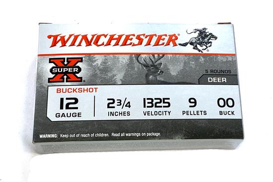 """NIB 5 Shotshells of 12 GA. 2-3/4"""" 00 BUCKSHOT Winchester Super-X Ammunition"""