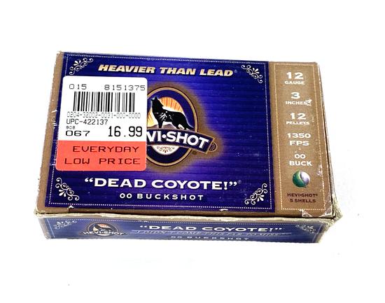 "NIB 5 Shotshells of 12 GA. 3"" 00 BUCKSHOT 12 Pellets Hevi-Shot Dead Coyote Ammunition"