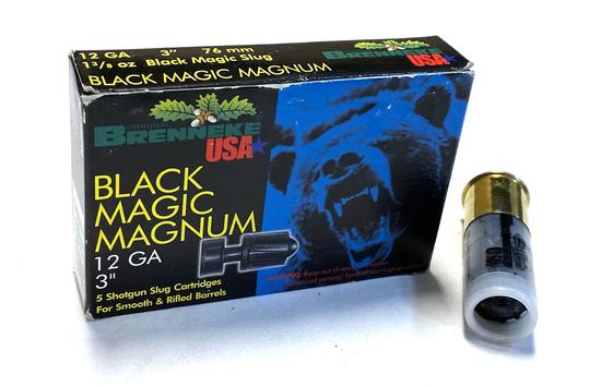 """NIB 5 Shotshells of 12 GA. 3"""" Black Magic Magnum Slugs Ammo"""