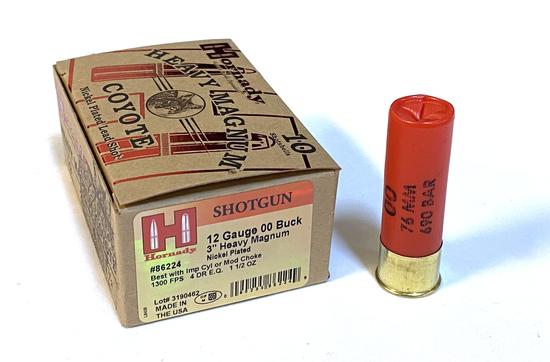 """NIB 10 Shotshells of 12 GA. 3"""" 00 Buck Hornady Heavy Magnum Coyote Ammunition"""