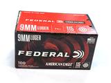 NIB 100rds. of 9MM LUGER Federal American Eagle 115gr. FMJ Brass Ammunition