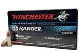 NIB 50rds. of 9MM LUGER Winchester Ranger 147gr. T-Series JHP Personal Defense LE Ammunition