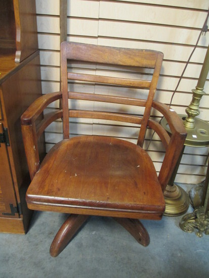 Vintage Wooden Swiveling Office Chair