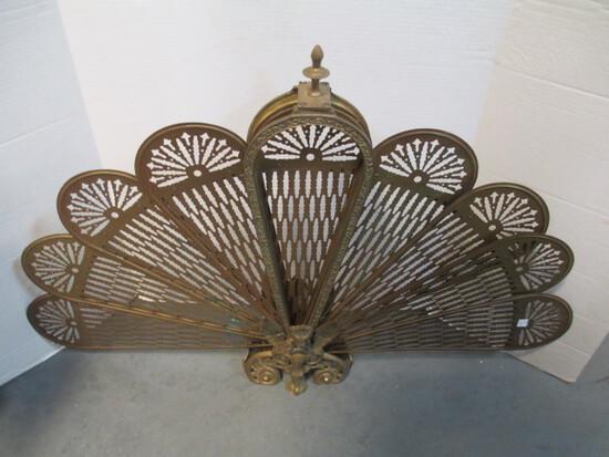 Folding Brass Fireplace Screen