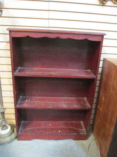 Wooden Bookshelf With 3 Stationary Shelves