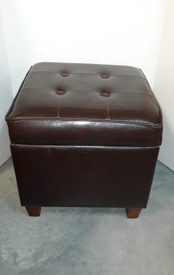 Faux Leather Storage Cube With Block-Tufted Top