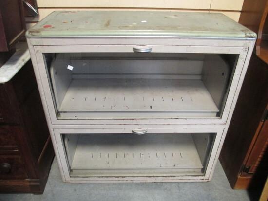 Industrial Metal Filing Cabinet With Tilting Glass Doors