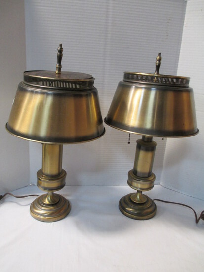Pair Of Antique-Brass Finish Lamps With Metal Shades