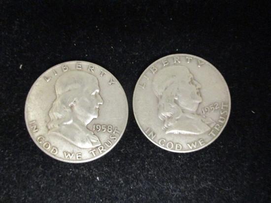 Lot of (2) Franklin Half Dollars- 1958D & 1952D