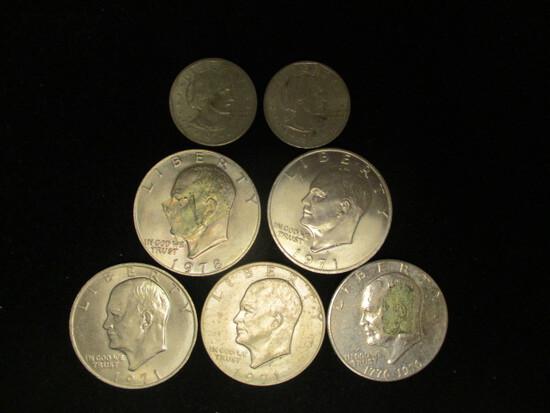 Lot of (5) Eisenhower Dollars and 2 1979 Susan B. Anthony Dollars