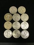 Lot of (11) Walking Liberty Half Dollars